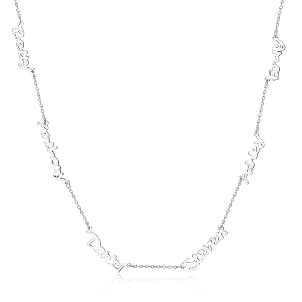 Silver Personalized 1-6 Name Necklace for Her
