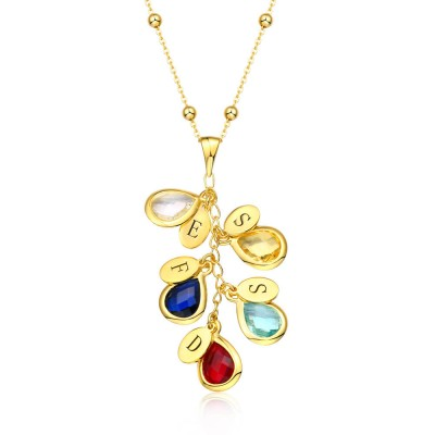 18K Gold Plating Custom Birthstone Drop Necklace for Her With 1-8 Pendants