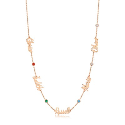 18K Rose Gold Plating Personalized Name Necklace With 1-6 Names and Birthstones