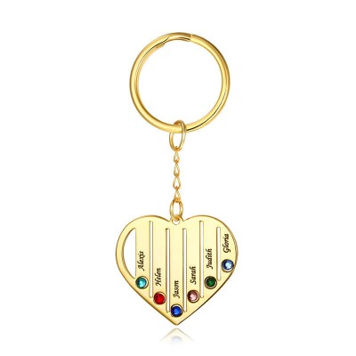 Personalized Gold Plating 1-7 Engraving Names with Birthstone Key Chain Gift For Mother's Day