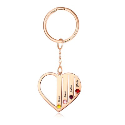 Personalized Rose Gold Plating 1-7 Engraving Names with Birthstone Key Chain Gift For Mother's Day