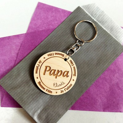 Father's Day Gift Personalized Papa Keychain Engraving 1-10 Names
