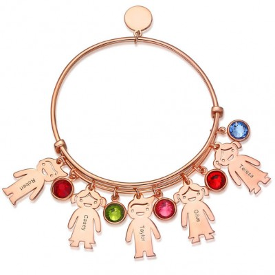 18K Rose Gold Personalized Bangle Bracelet With 1-10 Birthstones Kids Charms