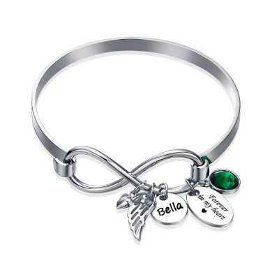 Personalized Infinity Name Bracelet Forever In My Heart Angel Wing