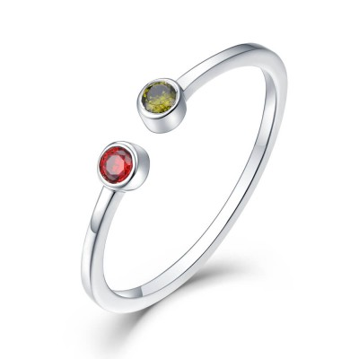 S925 Sterling Silver Personalized Simple Birthstone Ring For Her