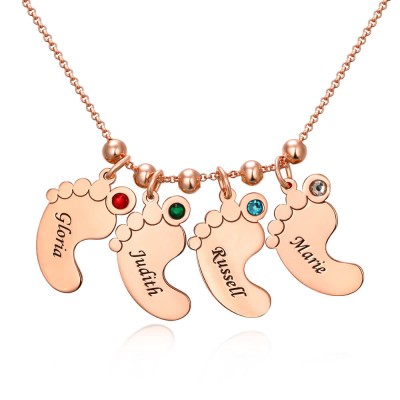 18K Rose Gold Plating Personalized 1-10 Engravable Charms Necklace Baby Feet Shape Pendant Necklace Birthstones Necklace for Mom