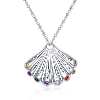 Personalized Shell Pendant Necklace With 1-9 Birthstones and Engravings