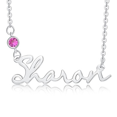 Personalized Silver Name Necklace With Birthstone for Her