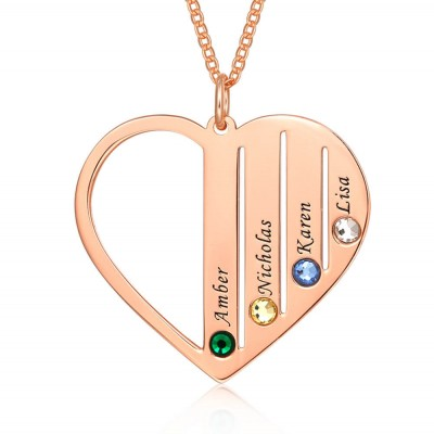 18K Rose Gold Plating Personalized Necklace 1-7 Birthstones and Engravings Engraved Birthstone Necklace