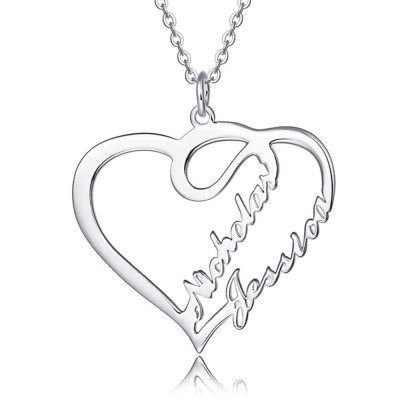 Personalized Heart Name Necklace for Couples