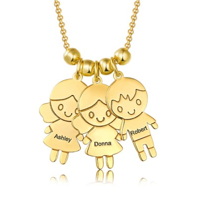 Personalized Children Pendant Engraved Necklace with1-8 Charms