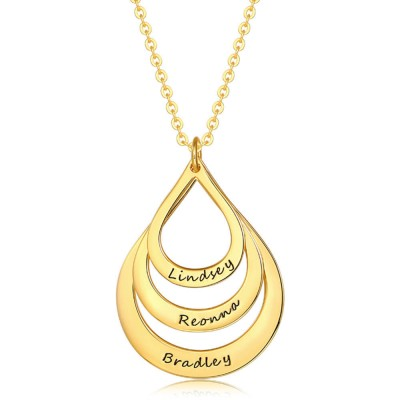 Personalized Engraved Drop Shaped Family Necklace Engraving Name Necklace