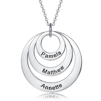 Personalized Engraved Disc Necklace With 1-5 Circles Customized Name Engraving Necklace