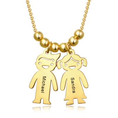 18K Gold Plating Personalized 1-15 Children Charms Necklace Engraved Mother's Necklace