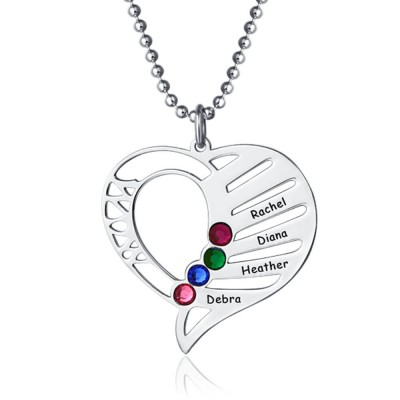 Personalized Heart Shape Name Necklace with 1-6 Birthstones Custmized Mother's Necklace