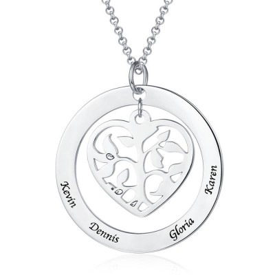 Personalized Heart Family Tree Necklace with 1-5 Names