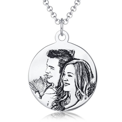 Personalize Women's Round Photo Engraved Tag Necklace