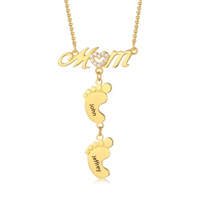 Personalized Gold Plating Mom Necklace With Baby Feet 1-10 Pendants