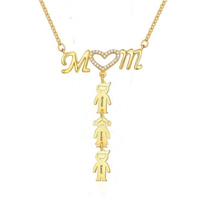 Personalized Mom Heart Necklace With 1-10 Children Pendants Gift for Mom