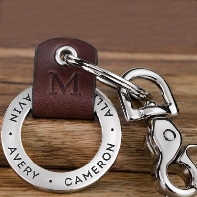Father's Day Gift Personalized Dad Leather Keychain Engraving 1-10 Names