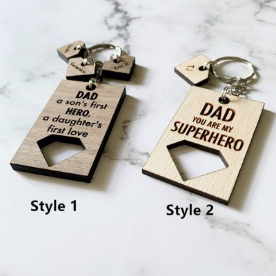 Engraving Father's Day Gift Personalized Superhero Dad Keychain with 1-10 Names