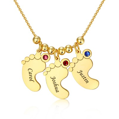 18K Gold Plating Personalized 1-10 Engravable Charms Necklace Baby Feet Shape Pendant Necklace Birthstones Necklace for Mom
