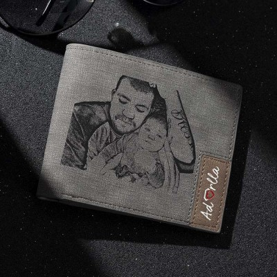 Father's Day Gift Personalized Photo Leather Wallet Gray