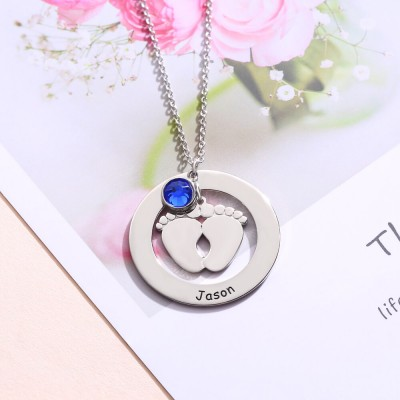 Personalized Baby Feet Shape Engravable Necklace