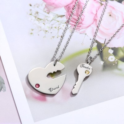 Personalized Engraved Necklace Key To My Heart Name Pendant Set For Couple