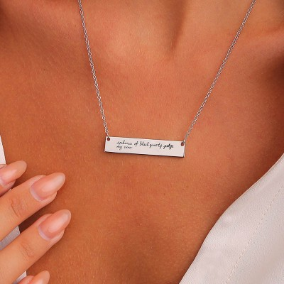 Personalized Handwriting Necklace | Vertical Bar Signature Necklace