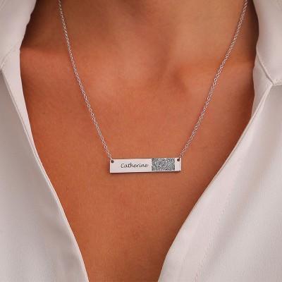 Personalize Fingerprint Bar Necklace