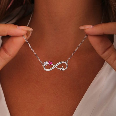 Personalize Infinity Name Necklace With Birthstones