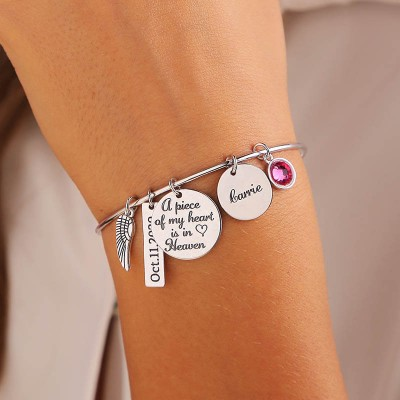 Personalized Memorial Gift A Piece of My Heart Is In Heaven Bangle Bracelet