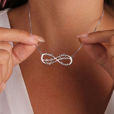 Personalized Infinity Name Necklace with 6 Names