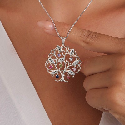 Personalized Birthstones Family Tree Necklace with 1-7 Names