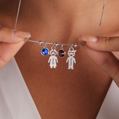 Silver Engraved Children Necklace 1-15 Pendants Optional With Birthstone