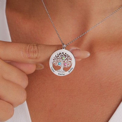 Personalized Heart Shape Family Tree Necklace with 1-6 Birthstones & Engravings