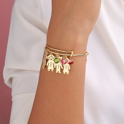 18K Gold Plating Personalized Bangle Bracelet With 1-10 Birthstones Kids Charms