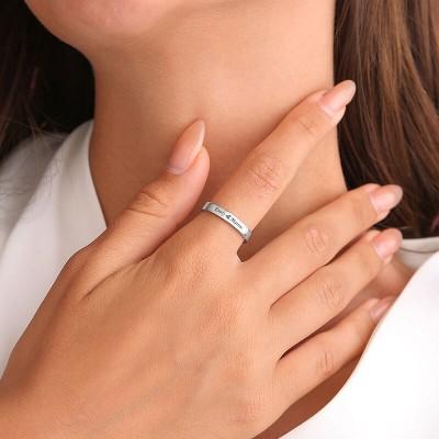 S925 Sterling Silver Custom Promise Engraved Name Ring