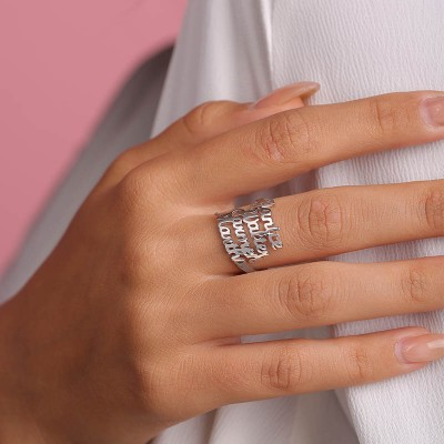 S925 Sterling Silver Personalized 4 Names Ring