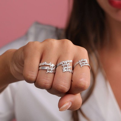 S925 Sterling Silver Personalized 1-4 Name Ring