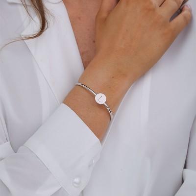 Open Engravable Bracelet with a Initial