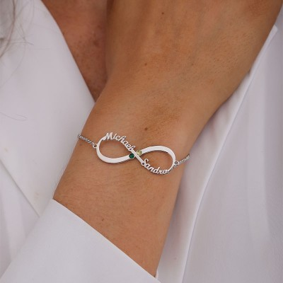Personalized Back To School 2 Infinity Charm Bracelets For Student