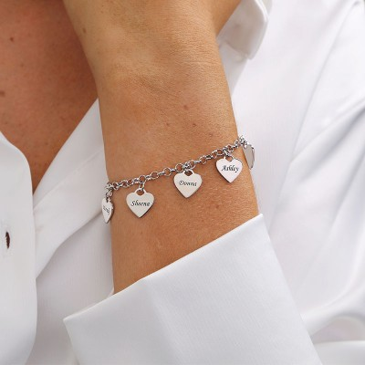 Personalized Bracelet with 1-5 Custom Heart Charms