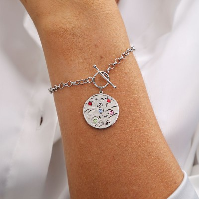 Personalized Charm Bracelet with 1-5 Names & Birthstone