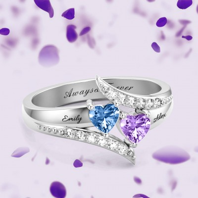 S925 Sterling Silver Personalized Double Heart Birthstone Promise Ring For Her
