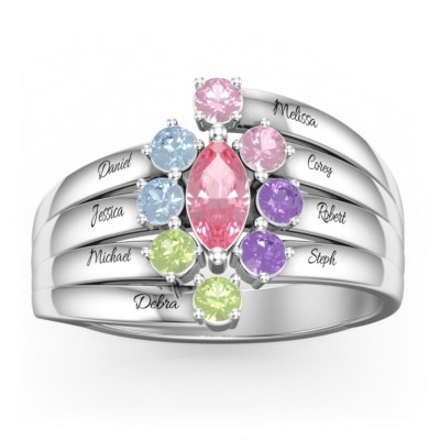 S925 Sterling Silver Personalized Custom Marquise Family Ring with 1-8 Birthstones For Mom