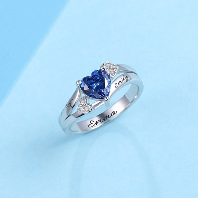 S925 Sterling Silver Engraved Heart Birthstone Promise Ring For Her