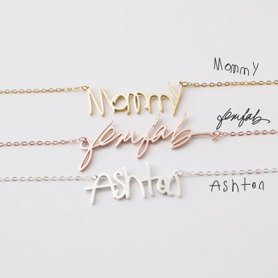 S925 Silver Custom Actual Handwriting Necklace