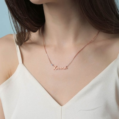18K Rose Gold Plating Personalized Silver Name Necklace With Birthstone for Her